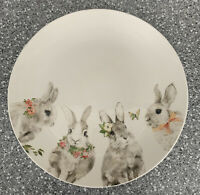 Pier 1 NWT  ~ BUNNY PALS Dinner Plate EASTER BUNNY Rabbit Spring Flower w/Flaw