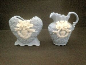 Victorian Ceramic Pitcher & Heart Vase Set - Blue with White Roses & Lady Cameo