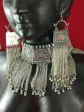 Indian Jewelry Silver Oxidized Chokar Necklace Earrings Afghani Bollywood Set