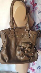 Serenade Beverly Hills Collection  Women's Handbag tan and gold studded flower