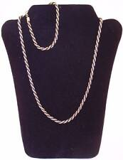 Lot Goldtone & Black Matching Rope Chain Necklace & Bracelet Set, Pre-Owned