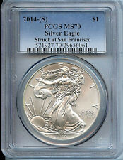2014 S Silver American Eagle Dollar MS70 PCGS Certified Coin San Francisco C21