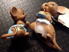 Vintage Josef Originals Mouse Village Happy Birthday Mom w tag & Baby Boy rattle