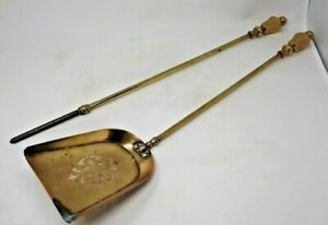 Pair Antique Solid Brass Fire Irons 62.5 cms Length