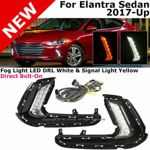 For 17-18 Hyundai Elantra Front Bumper LED CLEAR Turn Signal DRL Fog Light Lamps