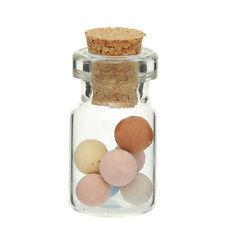 10x leere mini Glasflaschen mit Korken Glas Behälter transparent 13,5 x 26,5 mm