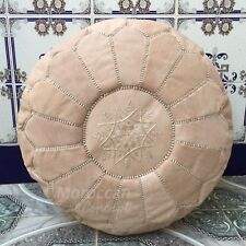 Free Express Shipping! Moroccan Leather Pouf natural color