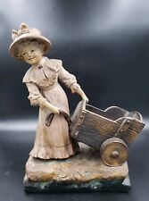 ANTIQUE JOHANN MARESCH POTTERY GIRL W/ WAGON FIG. BY AUG OTTO  #2803 c.1900   39