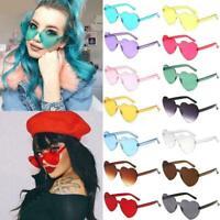 Women Love Heart Shape Sunglasses Rimless Frame Tint Lens Clear Sunglasses