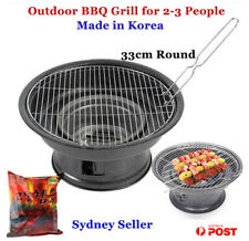 Portable Charcoal BBQ grill Round 2-3 People Outdoor Camping Made in Korea