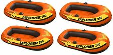 4 Pack Intex 2 Person Explorer 200 Inflatable River Boat Raft for Kids, Adults