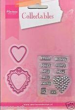 Marianne Diseño Coleccionables Die & Transparente Estampillas-Love Corazones neerlandés mensaje
