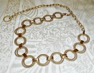 WOW COOL CHIC 60S RETRO GOLD COLOUR GOLD METAL CHAIN BELT CLOSED HO0K ADJUSTABLE