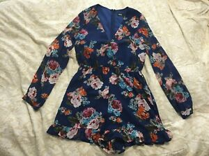 Dotti Womens Cute Long Sleeve Floral Playsuit Size 8 Pre-owned -Worn ONCE!