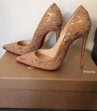 Christiam Louboutin 120mm So Kate Beige Multicolor Cork Heels