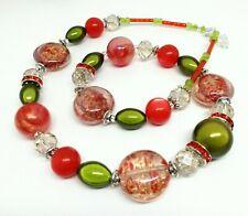 WOW Halskette Kette rot grün Strass Murano Stil Miracle Perlen Materialmix 50 cm