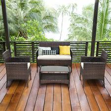 4 PCS Outdoor Patio Rattan Furniture Set Table Shelf Sofa W/ Beige Cushions New