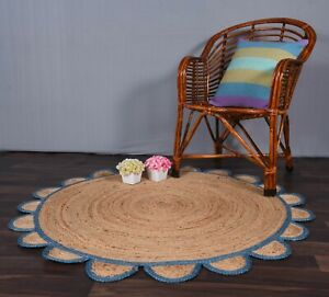 beige colour with sky blue border scalloped round jute rug beautiful design rug