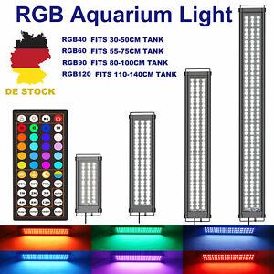 30-120cm Aquarium Beleuchtung RGB LED Lampe Timer 44Farbsteuerung Ganztags Modus
