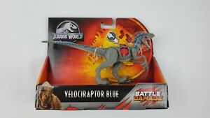 "Jurassic World Dino Rivals Velociraptor Blue Figure 9"" Battle Damaged New in Box"