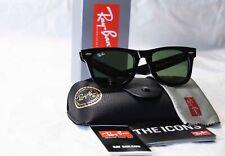 Ray Ban Wayfarer 901 RB2140 Black Sunglasses 50mm Black Frame Green Lens Classic