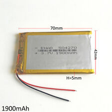 3.7V 1900mAh rechargeable LiPo polymer Battery 504270 For Mobile phone GPS DVD