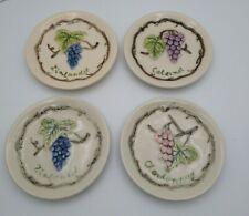 "MWW Market Mini Plates Set Of 4 Grape and Wine 4 3/4"" Round"