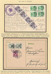 2 Postkarten Villach, 1936/1934