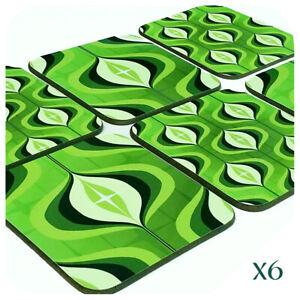 70s Op Art Coasters set of 6, Green Coasters, Retro Coasters, Retro Home Decor