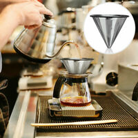 1PC Stainless Steel Pour Over Cone Dripper Reusable Coffee Filter Cup Stand pn