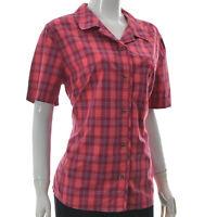 Jack Wolfskin Womens Regular Fit Button Up Casual Shirt Short Sleeve Plaid L
