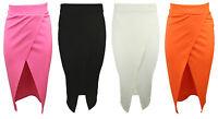 New Womens Wrap Skirt Ladies Black White Bodycon Office Pencil Midi Skirt 8-14