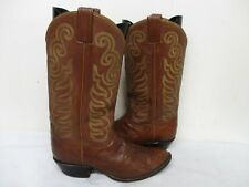 Tony Lama Brown Snakeskin Leather Cowboy Boots Mens Size 9.5 D Style 8113 USA