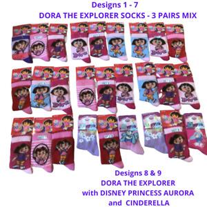 3 Girls Socks Dora the Explorer Disney Princess Aurora Cinderella Mix 3-5.5