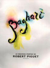 ▬► PUBLICITE ADVERTISING AD BAGHARI Bouldoires Robert PIGUET Parfum Perfume 1951