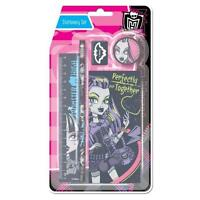 Infantil Monster High 5Pc Set Papelería Lápiz Goma Regla Sacapuntas Almohadilla