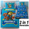 PAW PATROL SPY SINGLE DUVET COVER SET REVERSIBLE BEDDING CHASE MARSHALL ZUMA NEW