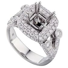 18K White Gold 2.25Ct Diamond Ring Setting With Double Halo (Sizable)