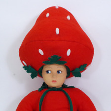 Vintage Lenci Fragola Red Strawberry Head Cloth Doll - Made In Italy - w Tag