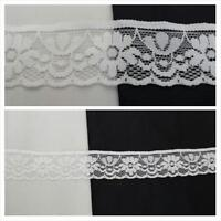 """10 yards off white scalloped floral design stretch lace trim 1 3/16"""" W. S2-10"""