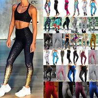 Damen Leggings Leggins Lang Sport Hose Fitness Stretch Training Yoga Aktiv Pants