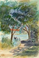 PUNT ON RIVER Watercolour Painting CHARLES VERNON METHLEY c1930 IMPRESSIONIST