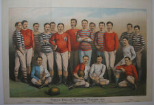 1881 FAMOUS ENGLISH FOOTBALL PLAYERS LARGE COLOUR PLATE VICTORIAN FOOTBALLERS