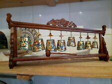 More details for vintage tibetan chinese oriental cloisonne graduated hanging bells  colourful