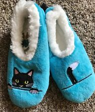 L 9-10 Snoozies Blue Black Kitty Cat Soft Slippers Shoes Foot Coverings NEW
