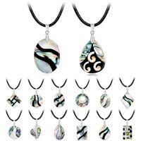 Mode Temperament Damen Natural Abalone Shell Halskette Leder Schnur Halsreif
