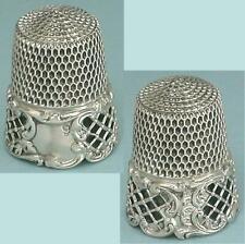 """Fab Antique Sterling Silver Pierced """"Lattice Rococo"""" Thimble * Circa 1890s"""