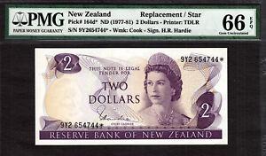New Zealand $2 REPLACEMENT // STAR 1977-81 Prefix 9Y2 P-164d* GEM UNC PMG 66 EPQ