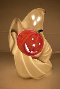 Vintage Fine Porcelain Halloween Ghost Pumpkin Jack O Lantern Light Up WORKS