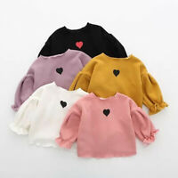 Hot Toddler Kids Baby Girls Puff Long Sleeve T-shirt Tops Clothes Casual Top Tee
